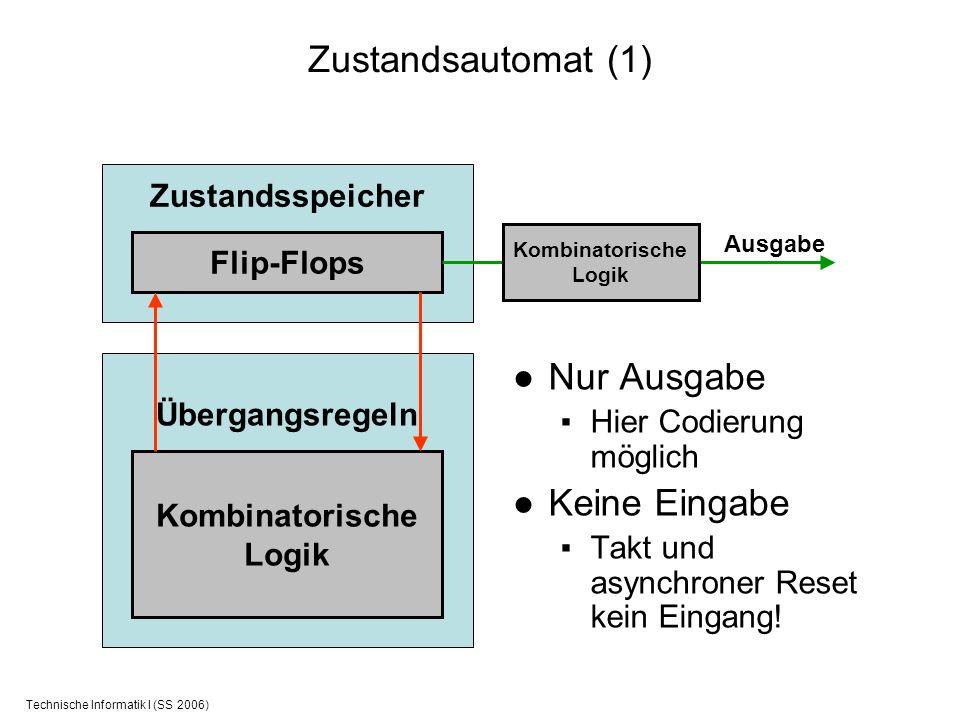 Technische Informatik I (SS 2006) Zustandsautomat (1) Nur Ausgabe Hier Codierung möglich Keine Eingabe Takt und asynchroner Reset kein Eingang! Zustan