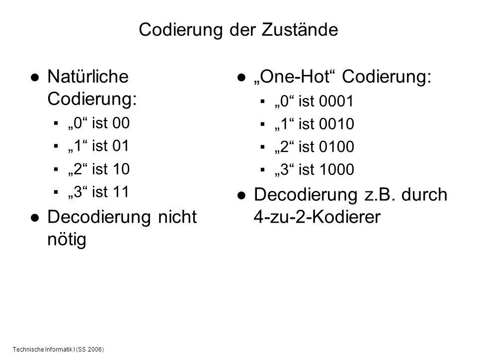 Technische Informatik I (SS 2006) Codierung der Zustände Natürliche Codierung: 0 ist 00 1 ist 01 2 ist 10 3 ist 11 Decodierung nicht nötig One-Hot Cod