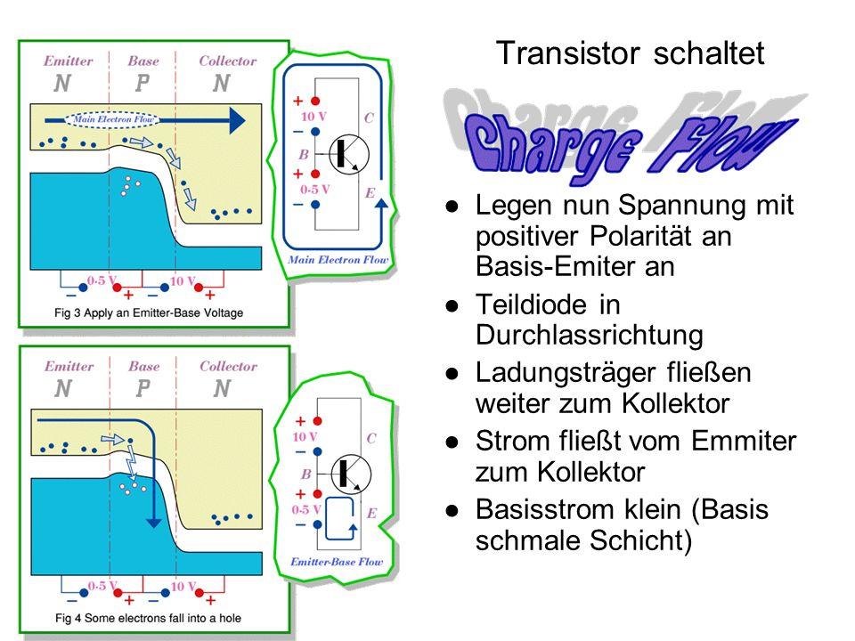 Technische Informatik I (SS 2006) Transistor schaltet Legen nun Spannung mit positiver Polarität an Basis-Emiter an Teildiode in Durchlassrichtung Lad