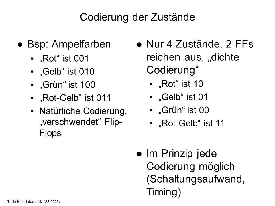 Technische Informatik I (SS 2006) Codierung der Zustände Bsp: Ampelfarben Rot ist 001 Gelb ist 010 Grün ist 100 Rot-Gelb ist 011 Natürliche Codierung,