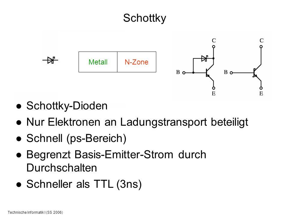 Technische Informatik I (SS 2006) Schottky Schottky-Dioden Nur Elektronen an Ladungstransport beteiligt Schnell (ps-Bereich) Begrenzt Basis-Emitter-St