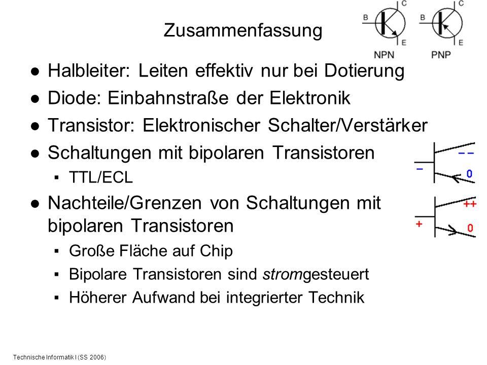 Technische Informatik I (SS 2006) Zusammenfassung Halbleiter: Leiten effektiv nur bei Dotierung Diode: Einbahnstraße der Elektronik Transistor: Elektr