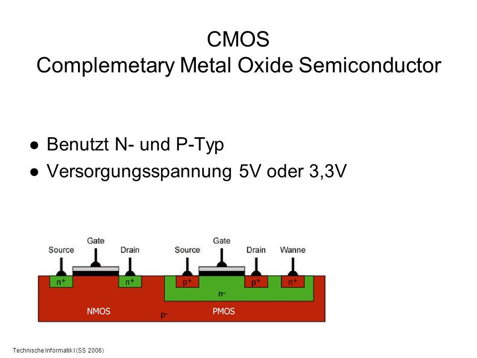 Technische Informatik I (SS 2006) CMOS Complemetary Metal Oxide Semiconductor Benutzt N- und P-Typ Versorgungsspannung 5V oder 3,3V