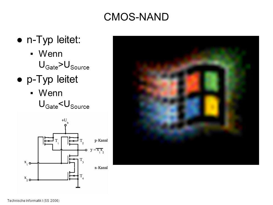 Technische Informatik I (SS 2006) CMOS-NAND n-Typ leitet: Wenn U Gate >U Source p-Typ leitet Wenn U Gate <U Source