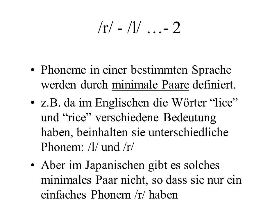 /r/ - /l/...1 Phon – Sprachlaute, die von einer Sprache benutzt wird z.B. [r] Phonem – Sprachlaut, der im Kontrast zu einem anderen benutzt wird z.B.