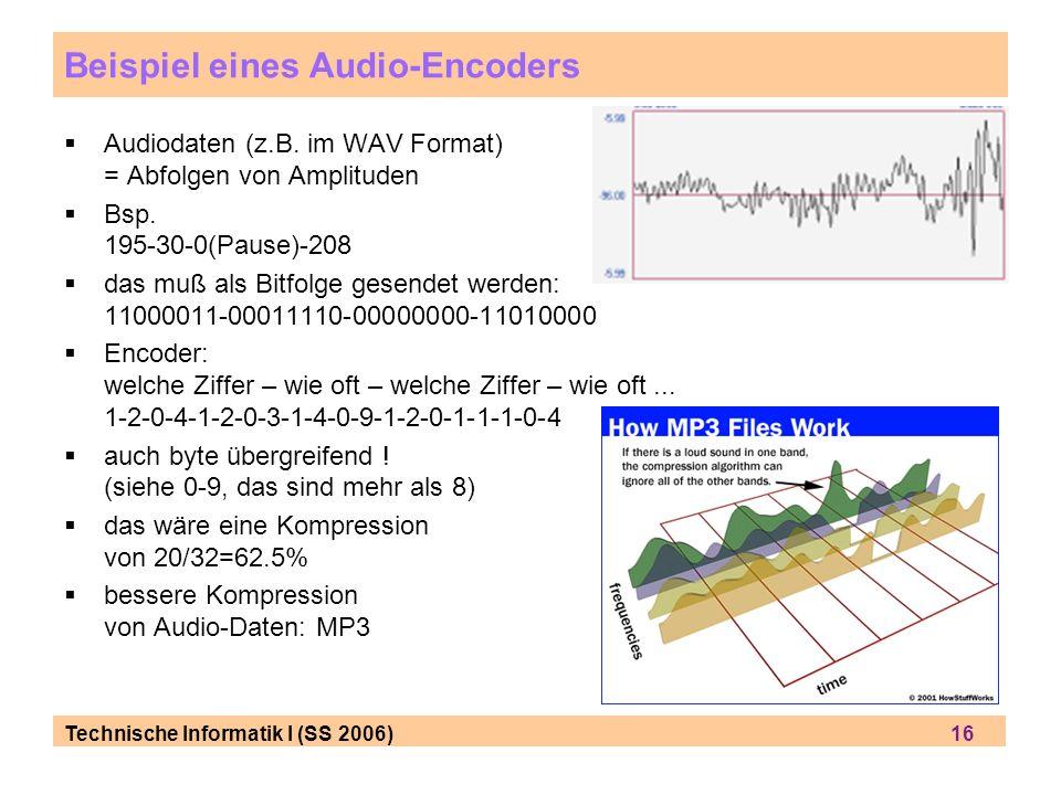 Technische Informatik I (SS 2006) 16 Beispiel eines Audio-Encoders Audiodaten (z.B. im WAV Format) = Abfolgen von Amplituden Bsp. 195-30-0(Pause)-208
