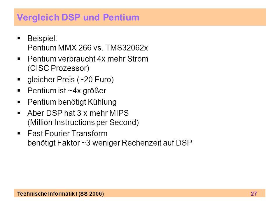 Technische Informatik I (SS 2006) 27 Vergleich DSP und Pentium Beispiel: Pentium MMX 266 vs. TMS32062x Pentium verbraucht 4x mehr Strom (CISC Prozesso