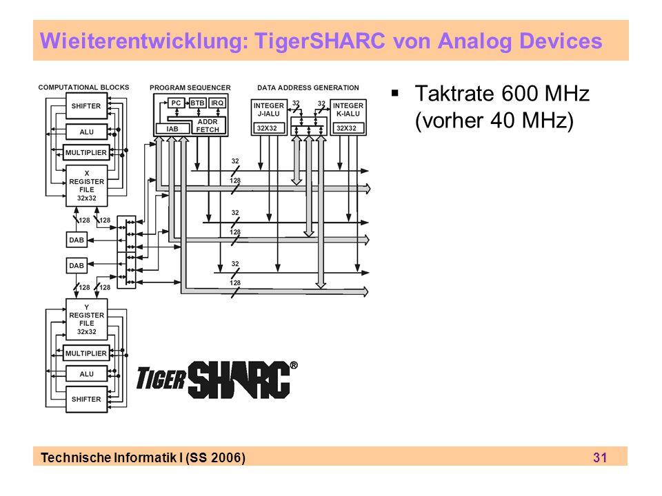 Technische Informatik I (SS 2006) 31 Wieiterentwicklung: TigerSHARC von Analog Devices Taktrate 600 MHz (vorher 40 MHz)