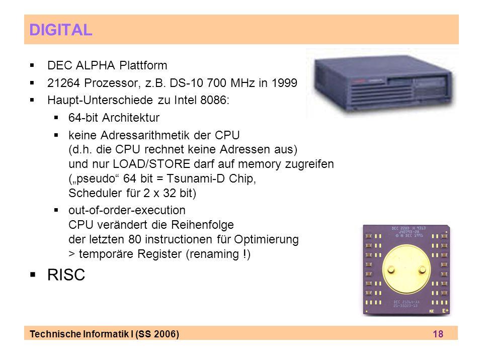 Technische Informatik I (SS 2006) 18 DIGITAL DEC ALPHA Plattform 21264 Prozessor, z.B.