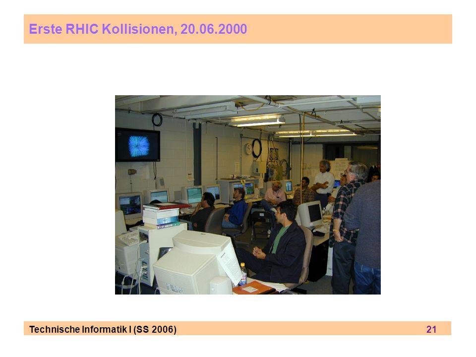 Technische Informatik I (SS 2006) 21 Erste RHIC Kollisionen, 20.06.2000