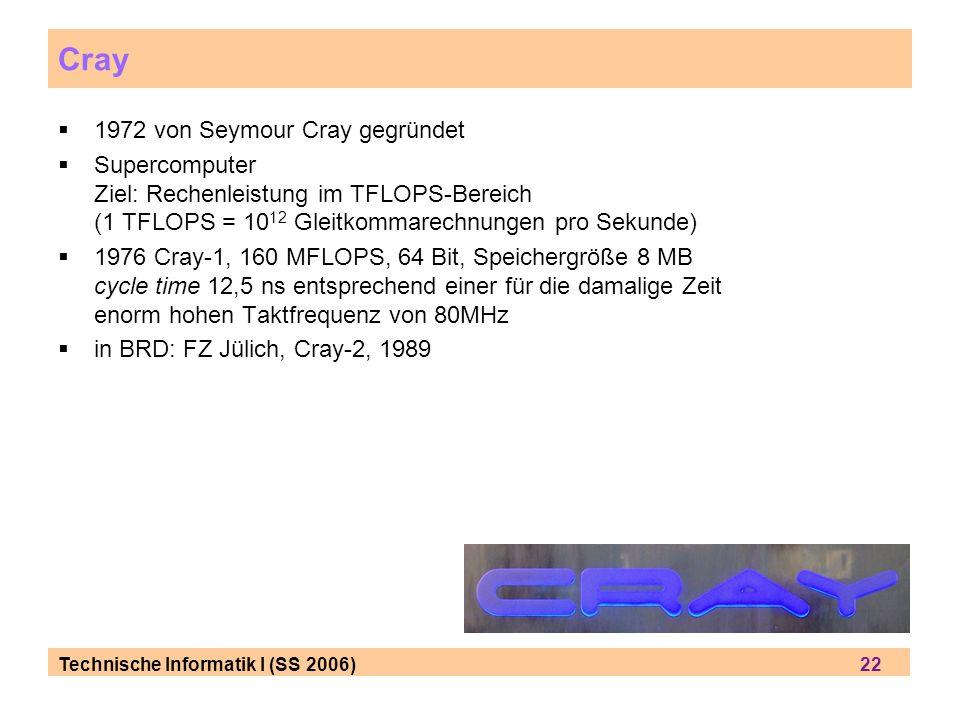 Technische Informatik I (SS 2006) 22 Cray 1972 von Seymour Cray gegründet Supercomputer Ziel: Rechenleistung im TFLOPS-Bereich (1 TFLOPS = 10 12 Gleitkommarechnungen pro Sekunde) 1976 Cray-1, 160 MFLOPS, 64 Bit, Speichergröße 8 MB cycle time 12,5 ns entsprechend einer für die damalige Zeit enorm hohen Taktfrequenz von 80MHz in BRD: FZ Jülich, Cray-2, 1989