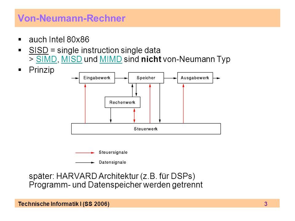 Technische Informatik I (SS 2006) 3 auch Intel 80x86 SISD = single instruction single data > SIMD, MISD und MIMD sind nicht von-Neumann TypSIMDMISDMIMD Prinzip später: HARVARD Architektur (z.B.