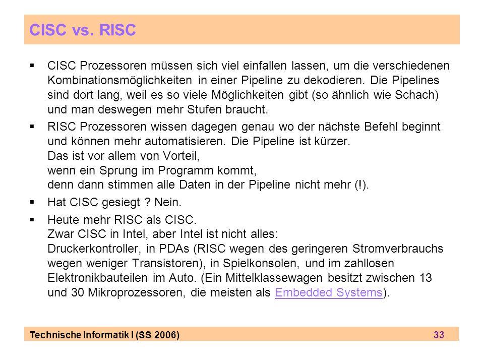 Technische Informatik I (SS 2006) 33 CISC vs.