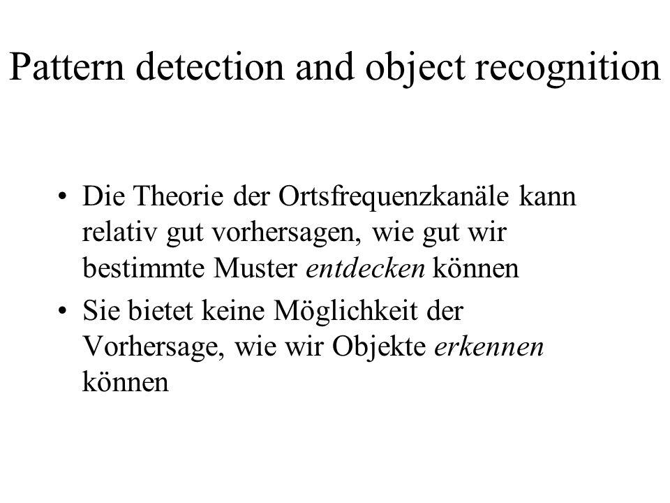 Pattern detection and object recognition Die Theorie der Ortsfrequenzkanäle kann relativ gut vorhersagen, wie gut wir bestimmte Muster entdecken könne