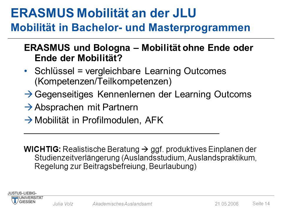 Seite 14 Julia Volz Akademisches Auslandsamt21.05.2008 ERASMUS Mobilität an der JLU Mobilität in Bachelor- und Masterprogrammen ERASMUS und Bologna –