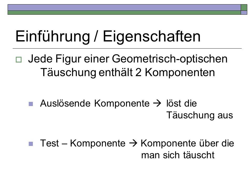 Einführung / Eigenschaften Jede Figur einer Geometrisch-optischen Täuschung enthält 2 Komponenten Auslösende Komponente löst die Täuschung aus Test –