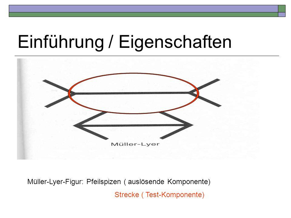 Einführung / Eigenschaften Müller-Lyer-Figur: Pfeilspizen ( auslösende Komponente) Strecke ( Test-Komponente)