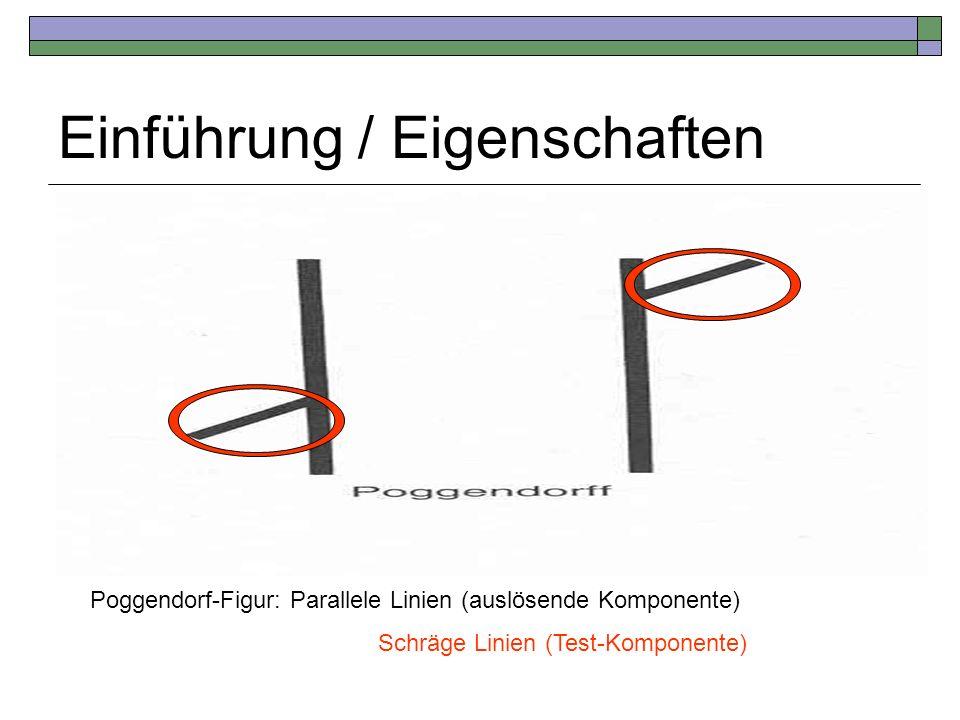 Einführung / Eigenschaften Poggendorf-Figur: Parallele Linien (auslösende Komponente) Schräge Linien (Test-Komponente)
