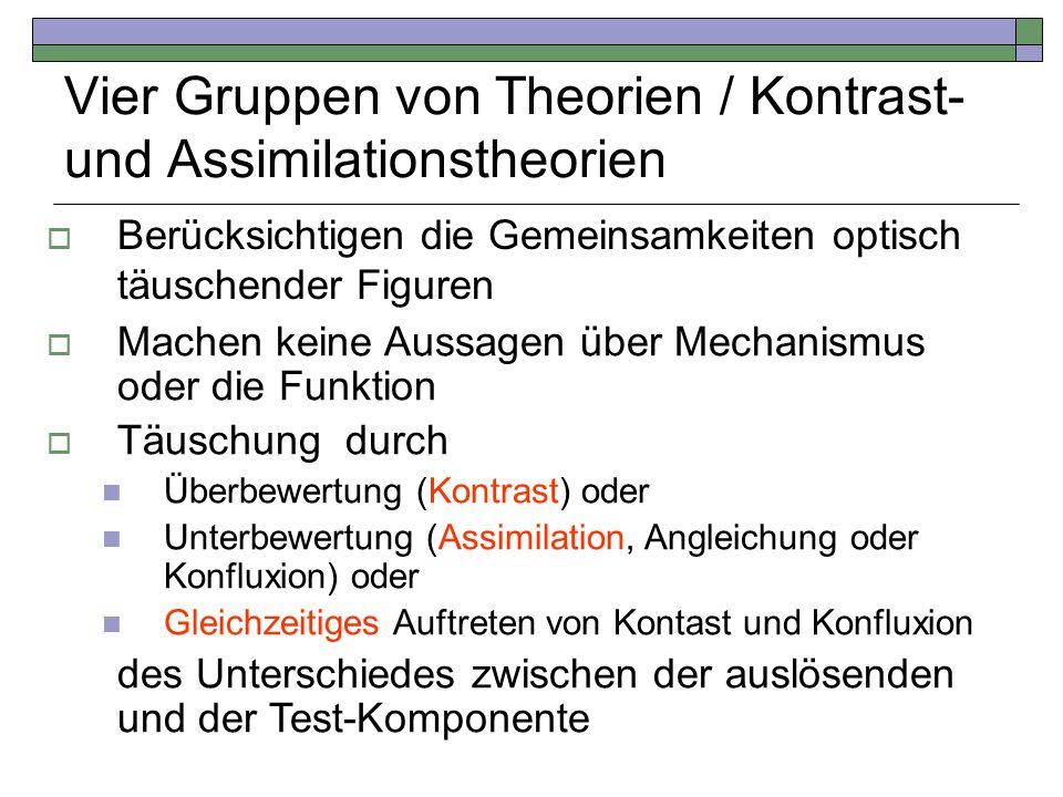 Vier Gruppen von Theorien / Kontrast- und Assimilationstheorien Berücksichtigen die Gemeinsamkeiten optisch täuschender Figuren Machen keine Aussagen