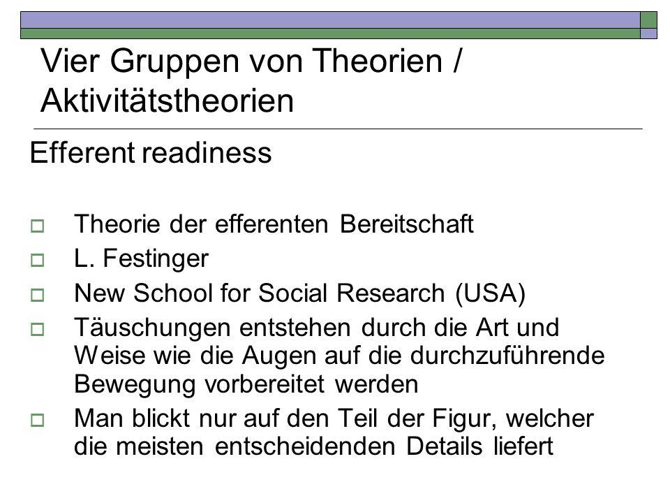 Vier Gruppen von Theorien / Aktivitätstheorien Efferent readiness Theorie der efferenten Bereitschaft L. Festinger New School for Social Research (USA