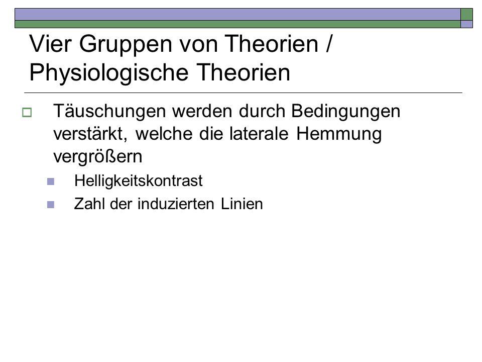 Vier Gruppen von Theorien / Physiologische Theorien Täuschungen werden durch Bedingungen verstärkt, welche die laterale Hemmung vergrößern Helligkeits
