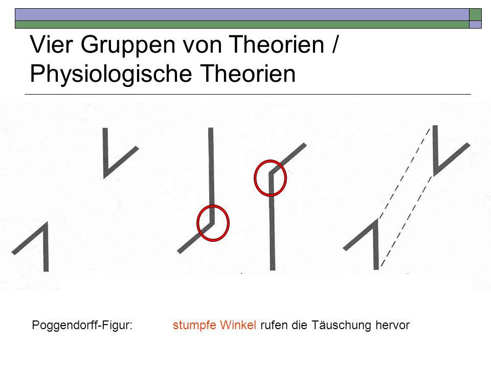 Vier Gruppen von Theorien / Physiologische Theorien Poggendorff-Figur:stumpfe Winkel rufen die Täuschung hervor