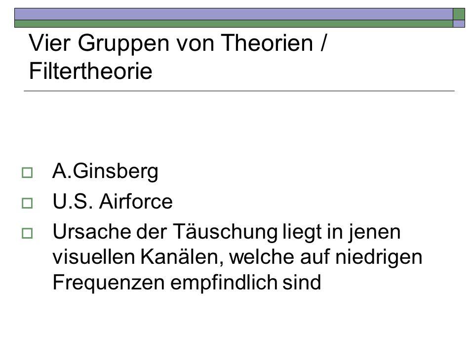 Vier Gruppen von Theorien / Filtertheorie A.Ginsberg U.S. Airforce Ursache der Täuschung liegt in jenen visuellen Kanälen, welche auf niedrigen Freque