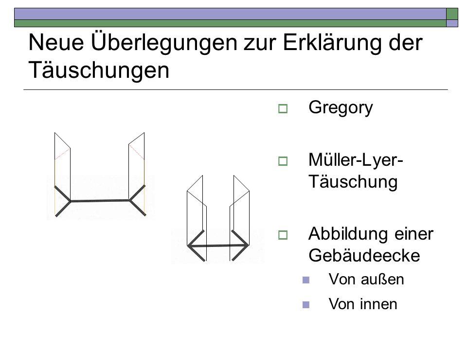 Neue Überlegungen zur Erklärung der Täuschungen Gregory Müller-Lyer- Täuschung Abbildung einer Gebäudeecke Von außen Von innen