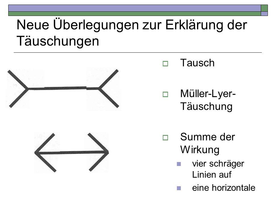 Neue Überlegungen zur Erklärung der Täuschungen Tausch Müller-Lyer- Täuschung Summe der Wirkung vier schräger Linien auf eine horizontale