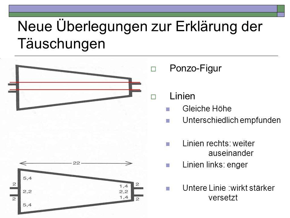 Neue Überlegungen zur Erklärung der Täuschungen Ponzo-Figur Linien Gleiche Höhe Unterschiedlich empfunden Linien rechts: weiter auseinander Linien lin