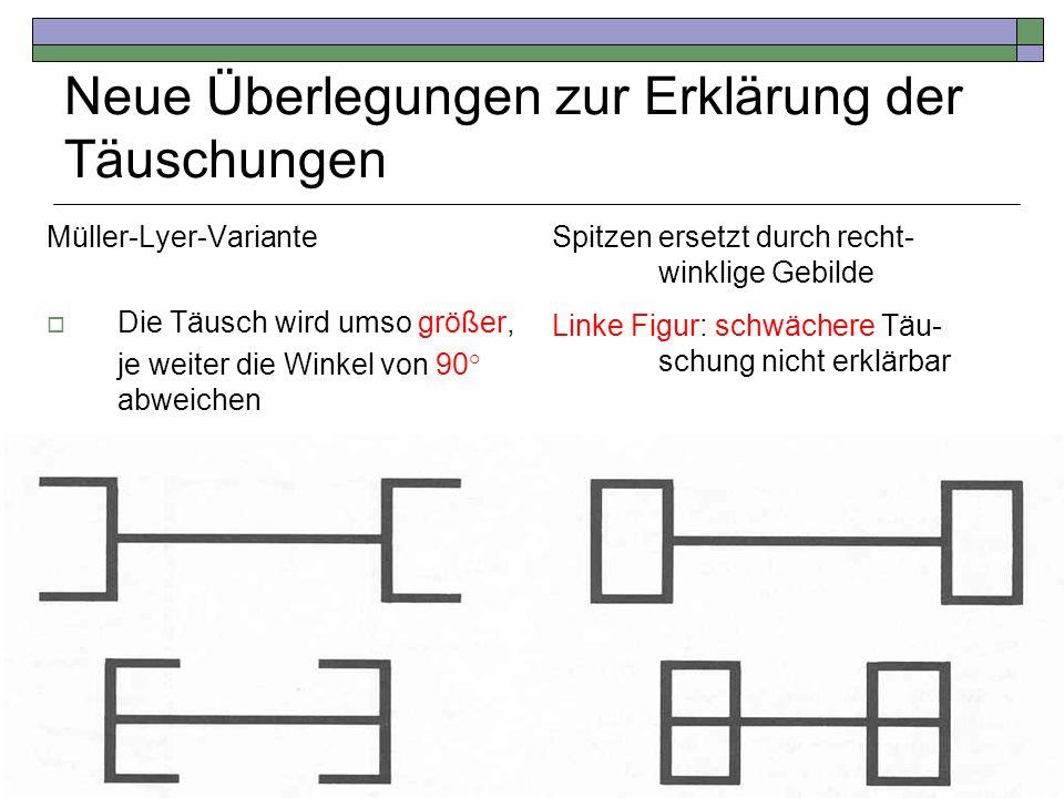 Neue Überlegungen zur Erklärung der Täuschungen Müller-Lyer-Variante Die Täusch wird umso größer, je weiter die Winkel von 90° abweichen Spitzen erset