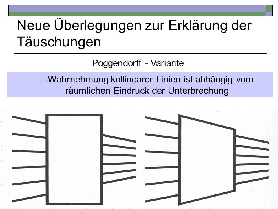 Neue Überlegungen zur Erklärung der Täuschungen Die Linien wirken versetzt Linie und Viereck weisen die gleiche Flucht auf kollinear Poggendorff - Var