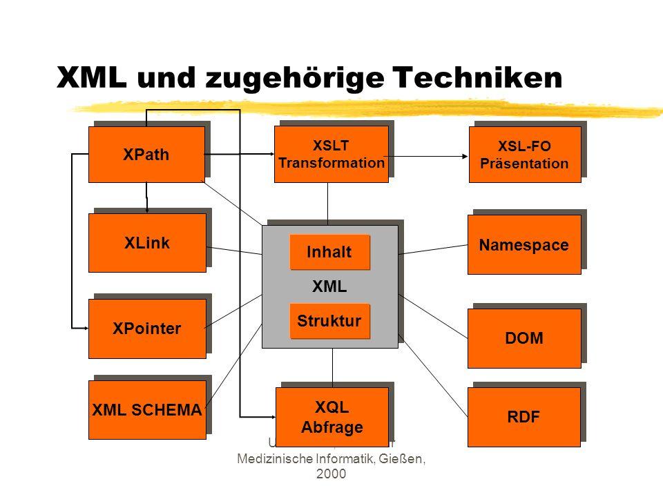 U. Altmann, Institut für Medizinische Informatik, Gießen, 2000 XML Inhalt Struktur XSLT Transformation XSLT Transformation XQL Abfrage XQL Abfrage Nam