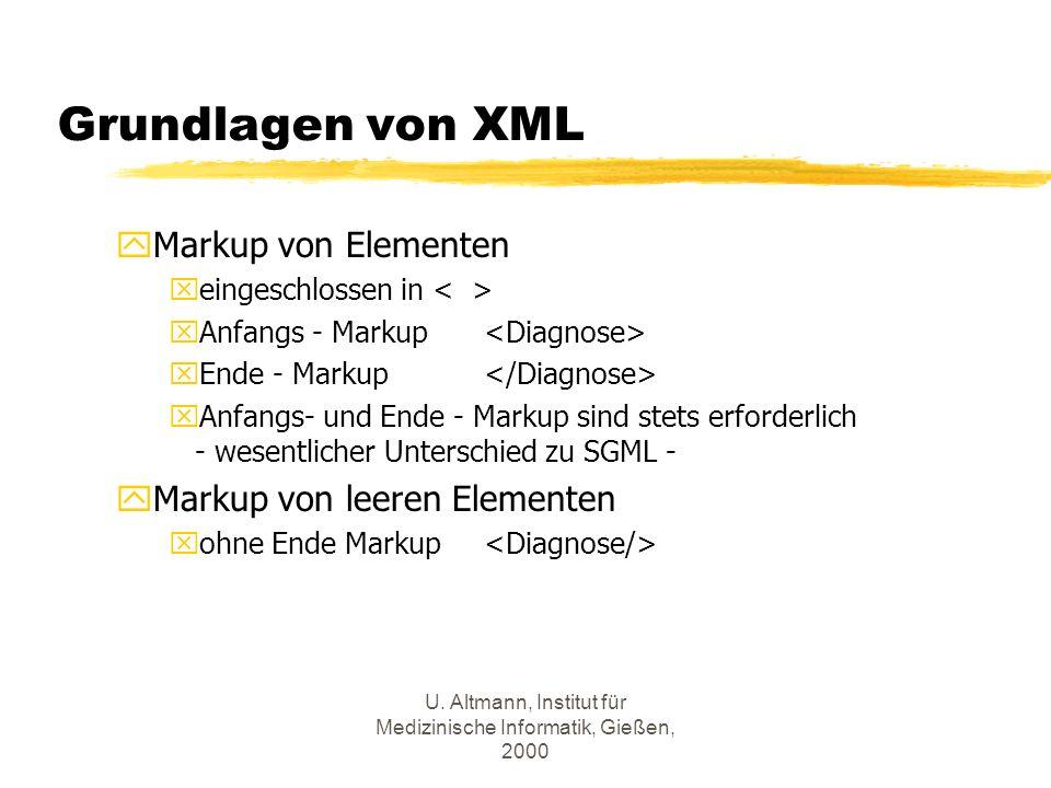 U. Altmann, Institut für Medizinische Informatik, Gießen, 2000 Grundlagen von XML yMarkup von Elementen xeingeschlossen in xAnfangs - Markup xEnde - M
