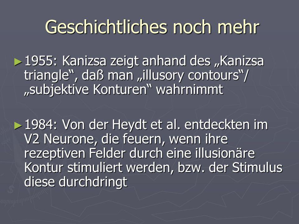 Geschichtliches noch mehr Geschichtliches noch mehr 1955: Kanizsa zeigt anhand des Kanizsa triangle, daß man illusory contours/ subjektive Konturen wa