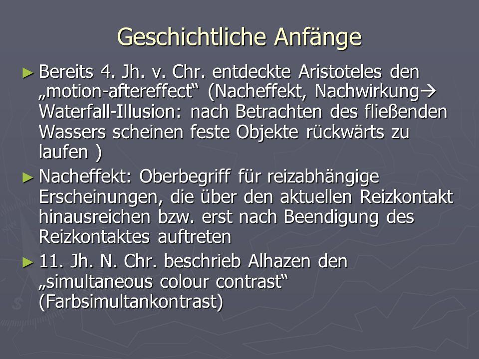 Geschichtliche Anfänge Bereits 4. Jh. v. Chr. entdeckte Aristoteles den motion-aftereffect (Nacheffekt, Nachwirkung Waterfall-Illusion: nach Betrachte