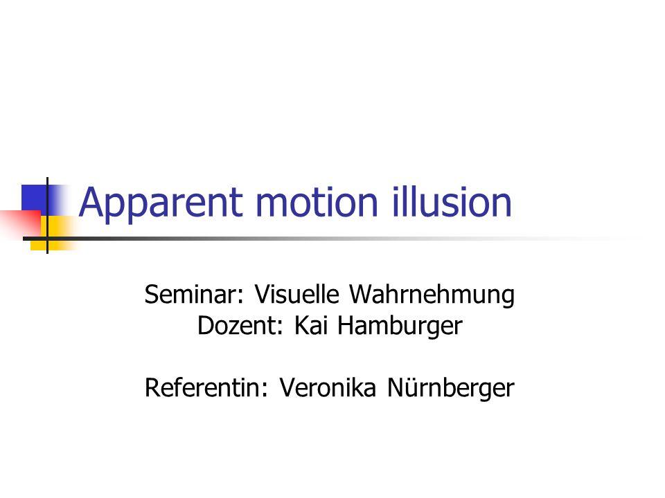 Apparent motion illusion Seminar: Visuelle Wahrnehmung Dozent: Kai Hamburger Referentin: Veronika Nürnberger