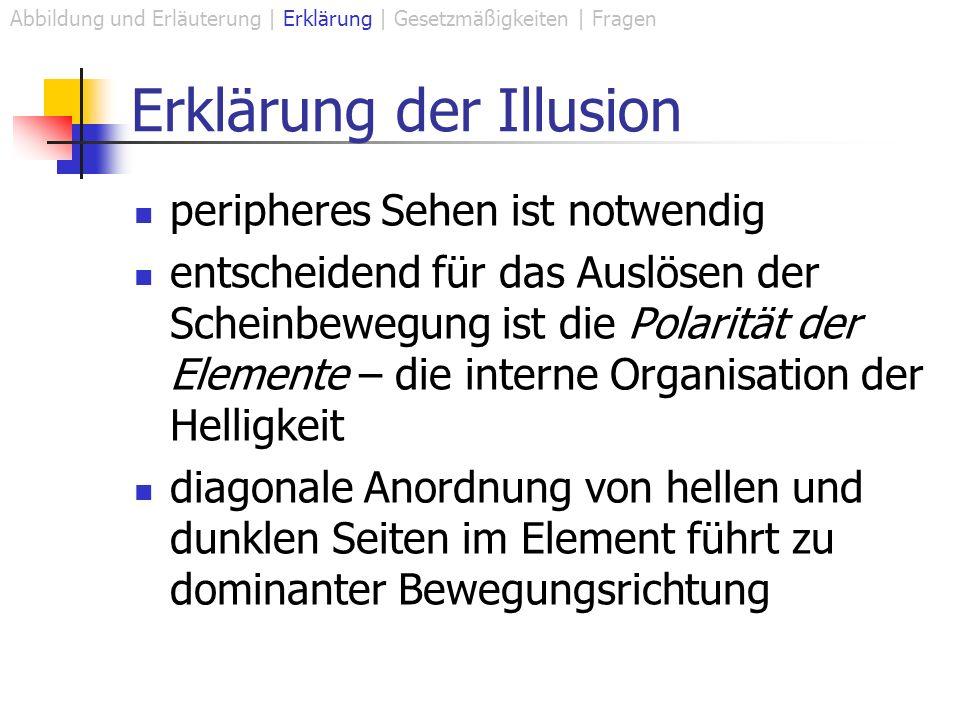 Erklärung der Illusion peripheres Sehen ist notwendig entscheidend für das Auslösen der Scheinbewegung ist die Polarität der Elemente – die interne Organisation der Helligkeit diagonale Anordnung von hellen und dunklen Seiten im Element führt zu dominanter Bewegungsrichtung Abbildung und Erläuterung | Erklärung | Gesetzmäßigkeiten | Fragen