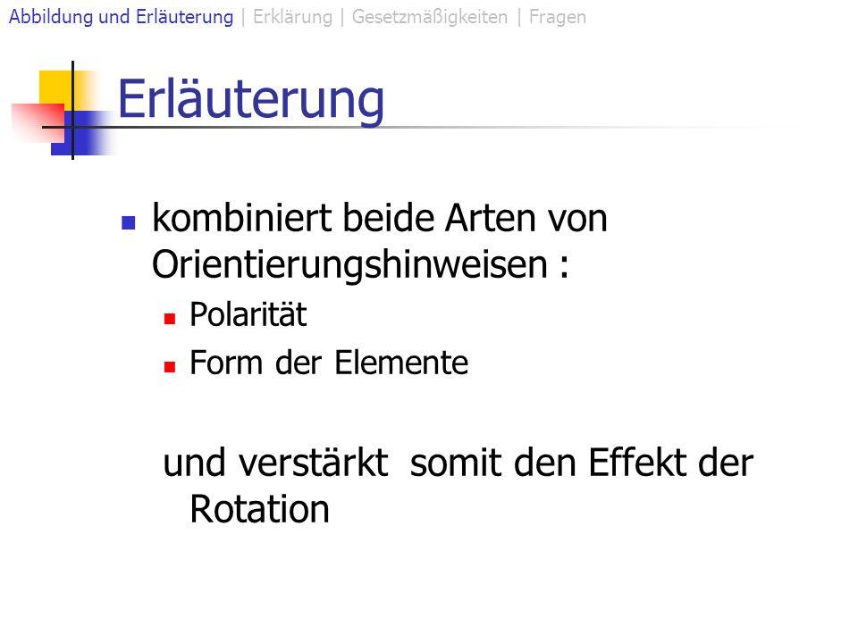 Erläuterung kombiniert beide Arten von Orientierungshinweisen : Polarität Form der Elemente und verstärkt somit den Effekt der Rotation Abbildung und Erläuterung | Erklärung | Gesetzmäßigkeiten | Fragen