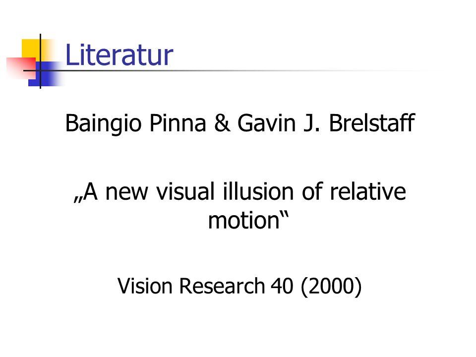 Literatur Baingio Pinna & Gavin J. Brelstaff A new visual illusion of relative motion Vision Research 40 (2000)