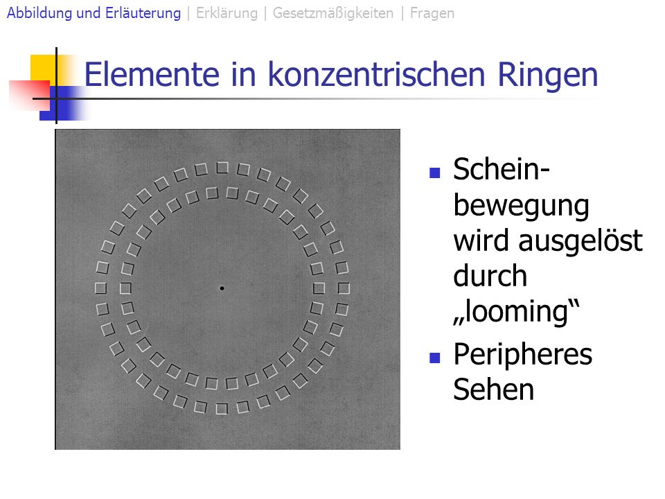 Elemente in konzentrischen Ringen Schein- bewegung wird ausgelöst durch looming Peripheres Sehen Abbildung und Erläuterung | Erklärung | Gesetzmäßigkeiten | Fragen