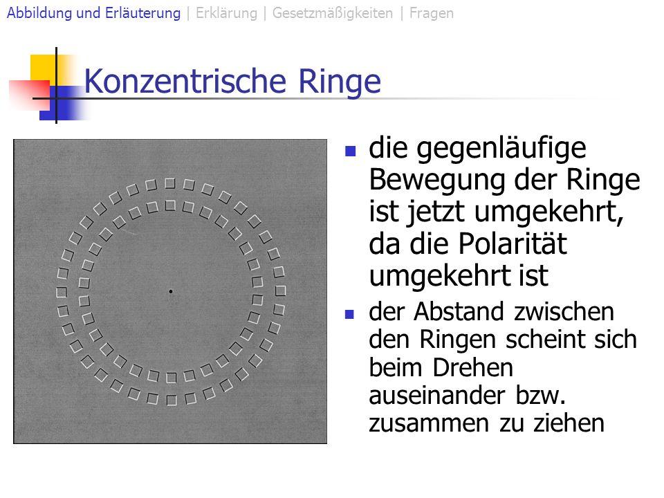 Konzentrische Ringe Abbildung und Erläuterung | Erklärung | Gesetzmäßigkeiten | Fragen die gegenläufige Bewegung der Ringe ist jetzt umgekehrt, da die Polarität umgekehrt ist der Abstand zwischen den Ringen scheint sich beim Drehen auseinander bzw.