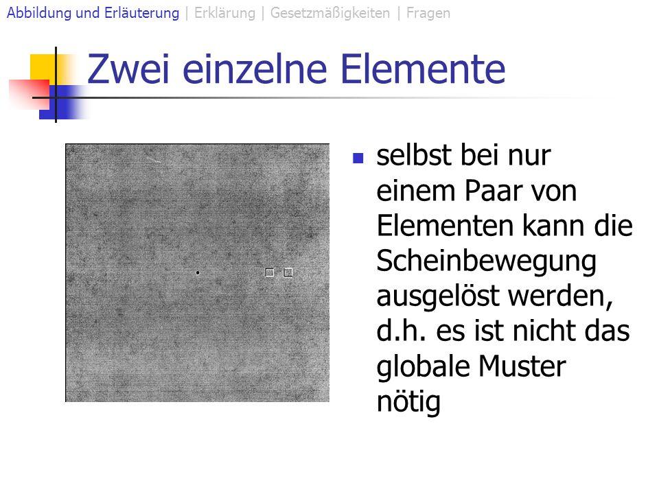 Zwei einzelne Elemente selbst bei nur einem Paar von Elementen kann die Scheinbewegung ausgelöst werden, d.h. es ist nicht das globale Muster nötig Ab