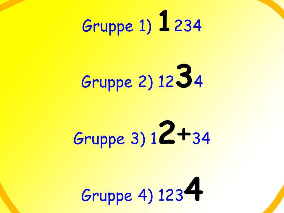Gruppe 1) 1 234 Gruppe 2) 12 3 4 Gruppe 3) 1 2+ 34 Gruppe 4) 123 4