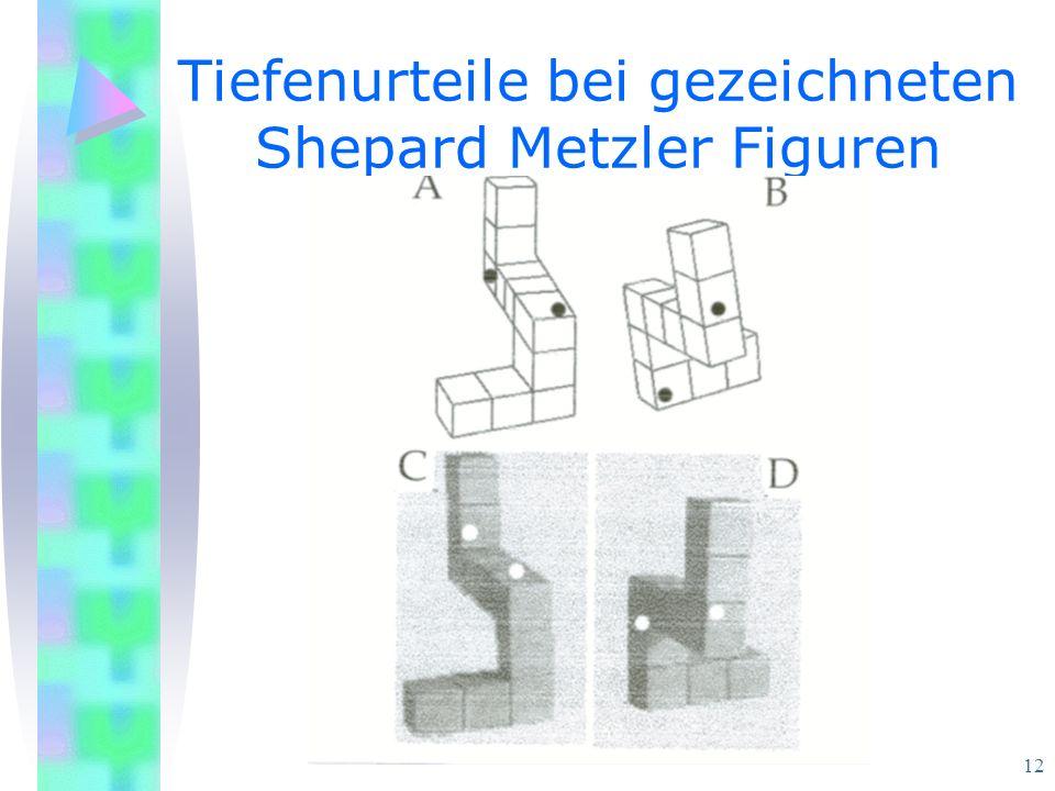12 Tiefenurteile bei gezeichneten Shepard Metzler Figuren