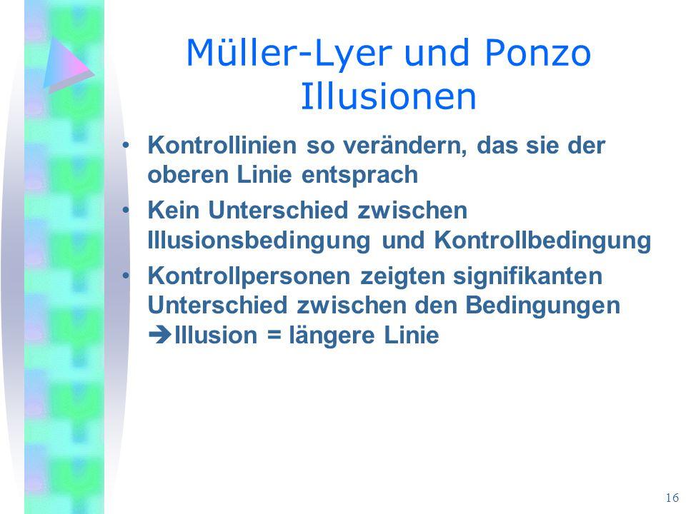 16 Müller-Lyer und Ponzo Illusionen Kontrollinien so verändern, das sie der oberen Linie entsprach Kein Unterschied zwischen Illusionsbedingung und Kontrollbedingung Kontrollpersonen zeigten signifikanten Unterschied zwischen den Bedingungen Illusion = längere Linie