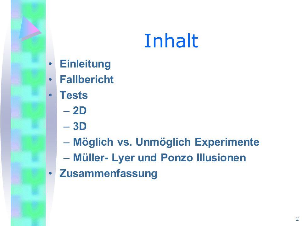 2 Inhalt Einleitung Fallbericht Tests –2D –3D –Möglich vs.