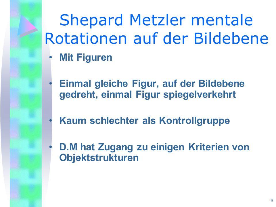 8 Shepard Metzler mentale Rotationen auf der Bildebene Mit Figuren Einmal gleiche Figur, auf der Bildebene gedreht, einmal Figur spiegelverkehrt Kaum schlechter als Kontrollgruppe D.M hat Zugang zu einigen Kriterien von Objektstrukturen