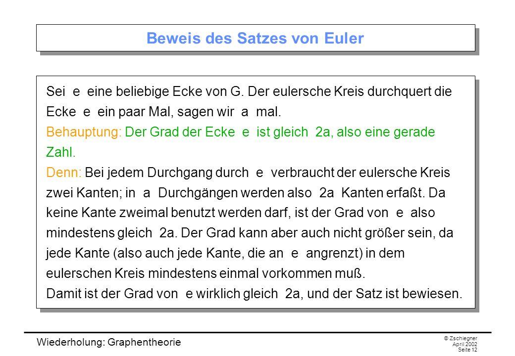 Wiederholung: Graphentheorie © Zschiegner April 2002 Seite 12 Beweis des Satzes von Euler Sei e eine beliebige Ecke von G. Der eulersche Kreis durchqu