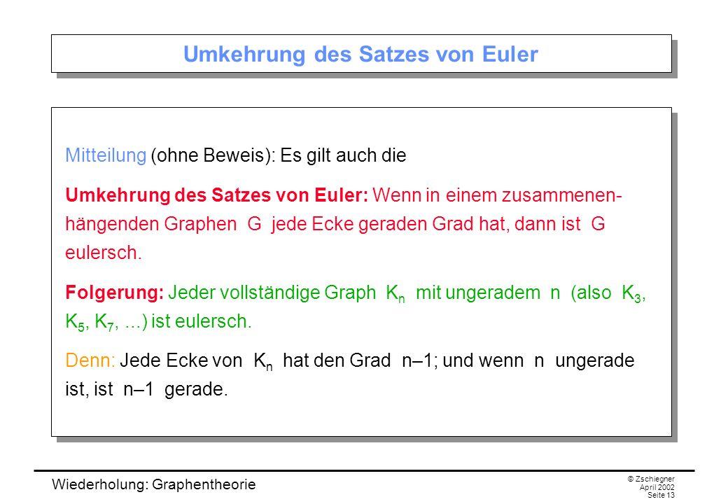 Wiederholung: Graphentheorie © Zschiegner April 2002 Seite 13 Umkehrung des Satzes von Euler Mitteilung (ohne Beweis): Es gilt auch die Umkehrung des